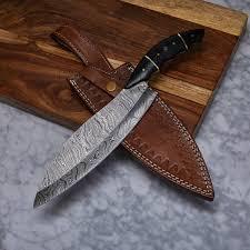 hand made kitchen knives handmade damascus kitchen knife kch 24 evermade traders
