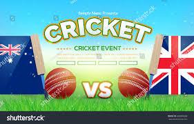 Cricket Flags Australia Uk Flag Cricket Poster Background Stock Vector 628869668