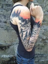 full sleeve nature tattoo by nickhole arcade of spidermonkey
