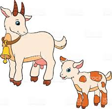 cartoon farm animals for kids mother goat with her baby stock