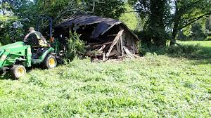 Barn Demolition John Deere 1026r Old Barn Demolition Youtube