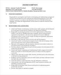 Sample Resume For Assistant Teacher In Preschools by Sample Teacher Job Description 12 Examples In Word Pdf