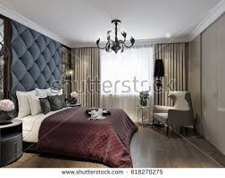 Floor To Ceiling Headboard Modern Classic Art Deco Bedroom Interior Stock Illustration