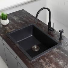 Kraus KGDB  Inch UndermountDropIn Single Bowl Granite - Black granite kitchen sinks