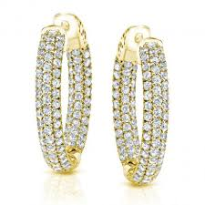 gold diamond hoop earrings 14k yellow gold micro pave setting diamond hoop earrings