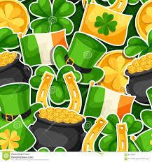 Pot Flag Saint Patricks Day Seamless Pattern Flag Ireland Pot Of Gold