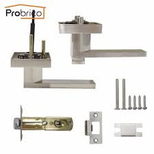 probrico stainless steel privacy interior door lock set brushed