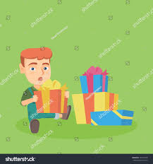 little caucasian baby boy opening birthday stock vector 725714758