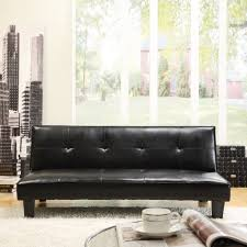 emily faux leather convertible futon sofa bed black