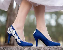 wedding shoes size 9 blue heels etsy