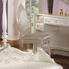 acme furniture pearl white chair in pearl white with gold accent