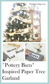 christmas tree garland pottery barn inspired white lace cottage