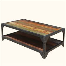 attractive rectangle metal industrial coffee table solid wood top