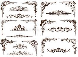 vector vintage ornaments corners borders stock vector