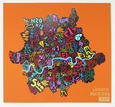 London Zip Code Map by London Postcode Map Orange Print By Jess Wilson Jealous