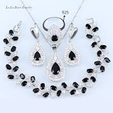 black white crystal necklace images L b wedding jewelry sets silver color 925 black stone white jpg