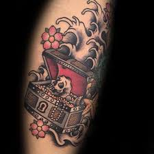 pirate treasure chest tattoo design pictures to pin on pinterest