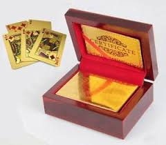 24k gold plated cards mahogany wooden box new