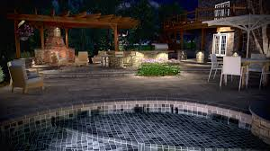 render of an outdoor kitchen fireplace and pool surround