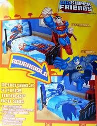 Batman Toddler Bed Amazon Com Dc Super Friends Reversible Batman Superman Toddler