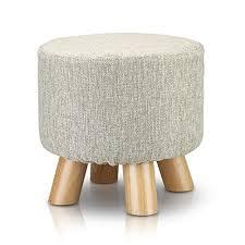 Beech Ottoman Tribesigns Modern Wood Upholstered Footstool Ottoman Roun Foot