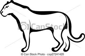 vector illustration of sketch silhouette profile of a lioness