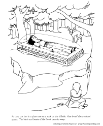snow white dwarfs fairy tale story coloring pages