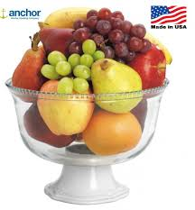 Fruit Bowl by Anchor Hocking Isabella Glass U0026 Ceramic Footed Fruit Bowl Trifle
