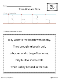letter b trace find and circle printable worksheet