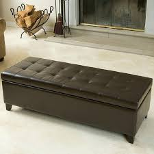 storage ottoman benches noble house mission brown tufted leather