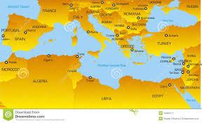 Mediterranean Europe Map by Mediterranean Region Stock Image Image 10494111