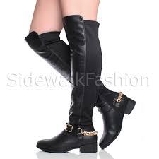 biker riding boots womens ladies low heel zip chain buckle over knee high biker