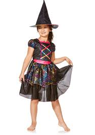 witch for halloween costume ideas clothing at tesco f u0026f halloween rainbow witch dress up costume