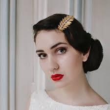 hair slide hair slide with gold laurel leaf and design by agnes