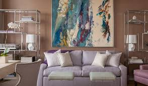 lavender sofa with polished nickel etageres transitional den