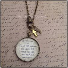 bible verse jewelry scripture necklace christian jewelry psalm 91 4 necklace bible