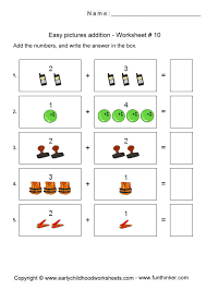 picture addition worksheets for preschool and kindergarten