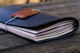travelers notebook images Traveler 39 s notebook leather cover navy blue galen leather jpg