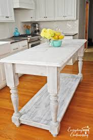 How To Build A Kitchen Island Table by Remodelaholic White Kitchen Overhaul With Diy Marble Island