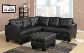 furniture winsome toronto tufted black leather corner sectional