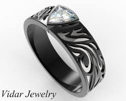black custom rings images Black gold diamond wedding band for him custom rings vidar jpg