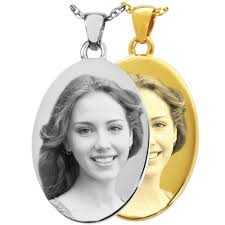 photo engraved necklace wholesale laser engraved photo cremation jewelry pendants