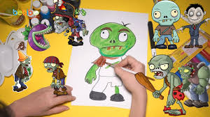draw and color zombie halloween for kid plants vs zombie
