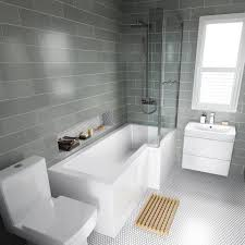 small luxury bathroom ideas 1700mm right l shaped bath with 6mm thick screen rail