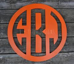 24 inch wooden circle monogram reverse cut out painted wooden