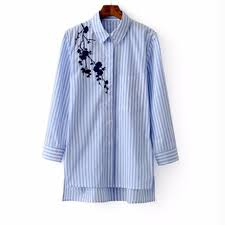 embroidered blouses embroidered blouses cotton blue striped sleeve shirt