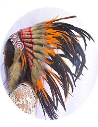 Rooster Halloween Costume Feather Headdress Native American Indian Inspired Handmade