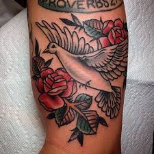 white old dove and rose flowers tattoo on arm tattoos pm