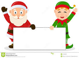 santa claus u0026 christmas elf with banner stock vector image 47048598