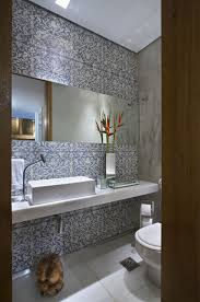 contemporary bathroom decorating ideas with beautiful wallpaper